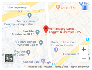 Google Map of Allman Spry Law Firm in Winston-Salem, NC